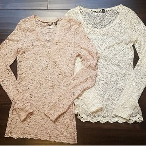 Set of 2 long sleeve lace tops